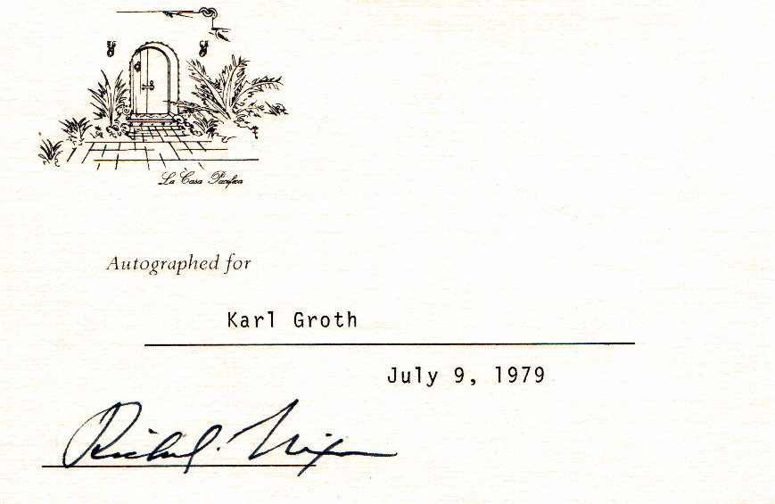 President RICHARD M  NIXON - Card From His Library Signed